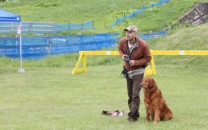 Photo : Élise Paquin; À l'aide de Thunder, l'éleveur de Golden Retrievers rustique, Djanick Michaud, a entrepris une démonstration bien impressionnante d'un chien rapporteur.