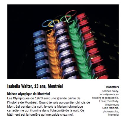 Photo 1er prix : Isabella Walter, 13 ans, Montréal