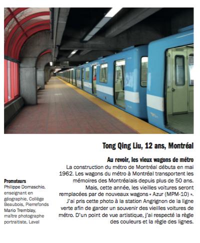 Photo 3e prix : Tong Qing Liu, 12 ans, Montréal