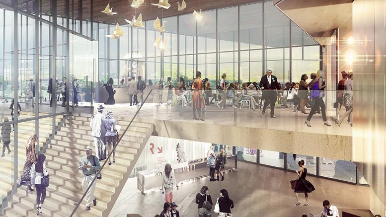 Photo : Atelier TAG; La grande fenestration et le foyer de la salle de spectacle imaginés par l'équipe d'architecture Atelier TAG et Jodoin Lamarre Pratte architectes en consortium.