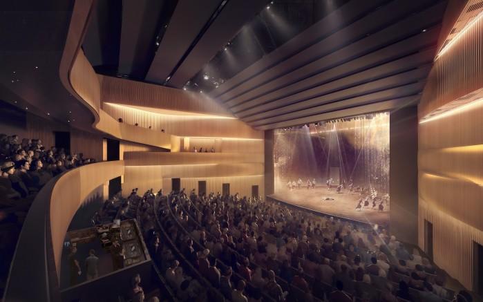Photo : Atelier TAG; L'apparence de la salle du Théâtre Gilles-Vigneault élaborée par l'équipe d'architecture Atelier TAG et Jodoin Lamarre Pratte architectes en consortium.