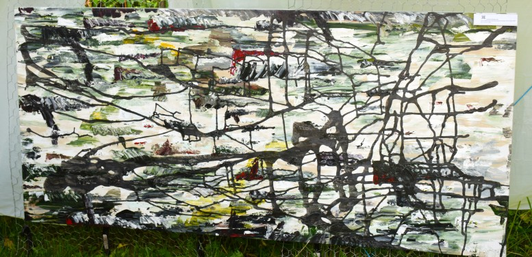 La peinture de procédé automatiste «Vol d'oiseau» de Josée Bernaquez.