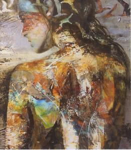 Une œuvre qui mêle la matière à la peinture, d'où le nom de son atelier, technique mixte.