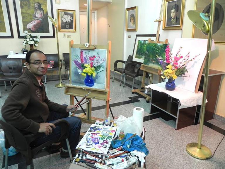 M. Samer, artiste peintre portraitiste. Photo Samir Samer.