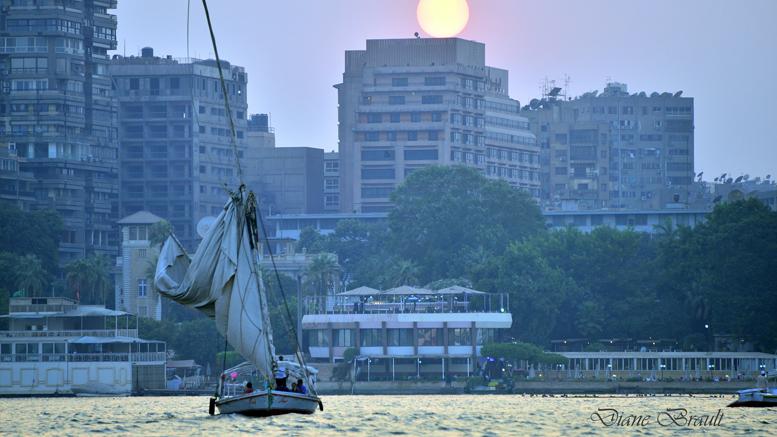 Le Caire, ballade en felouque sur le Nil, au coucher du soleil. Photo: Diane Brault