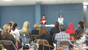Une vingtaine d'éducatrices étaient présentes lors du lancement du projet Jouons avec les mots.